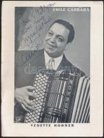 cca 1960 Emile Carrara olasz énekes aláírt fotója / Italian singer signed photo
