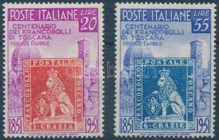 1951 100 éves a toscaniai bélyeg sor Mi 826-827 (részben kissé sárgult gumi / partly yellowish gum)