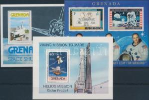 1969-1978 Space research 3 diff blocks, 1969-1978 3 klf Űrkutatás motívum blokk