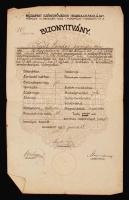 1924 Budapest Székesfőváros Iparrajziskola bizonyítványa