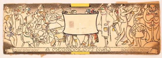 1922 Schima Bandi (1882-1959): A megromlott nyáj, vegyes technika, papír, jelzés nélkül, postán megküldve, 48,5×16 cm