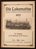 1922 Die Lokomotive. Illustrierte Monatsfachzeitschrift für Eisenbahntechniker. 19. évf., a 12 lapszám egybekötve, összesített tartalomjegyzékkel Számos érdekes írással. /  1922 Die Lokomotive. Illustrierte Monatsfachzeitschrift für Eisenbahntechniker. Vol. 19, the 12 issues are bound together, with table of contents for the whole volume. Contains many interesting writings.