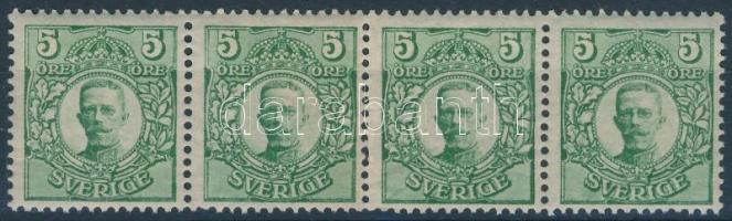 1911/19 King Gustav stripe of 4, 1911/19 Gusztáv király négyescsík