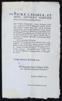 1789 daruvári Jankovich Antal gróf (1728-1789), a Hétszemélyes Tábla elnöke, királyi főtárnokmester és mások nyomtatott felirata az uralkodóhoz pozsonyi polgár ügyében