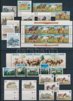 Horse and animals 23 stamps, 1 mini sheet and 1 stripe of 5, Ló és állat motívum 23 db bélyeg, 1 kisív és 1 ötöscsík 2 stecklapon