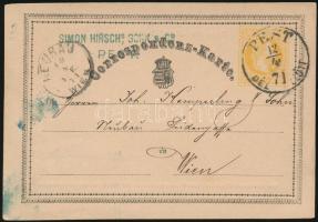 1871 Díjjegyes levelezőlap PEST / DÉL ELŐTT