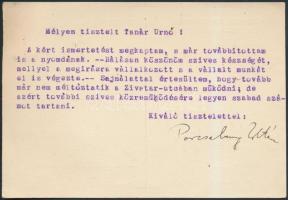 Porcsalmy Zoltán (1890-1968) kémiai, fizikai ismeretterjesztő, lapszerkesztő saját kézzel aláírt lapja