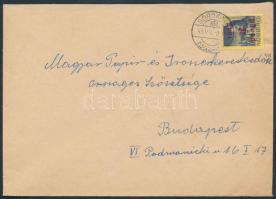 1945 (2. díjszabás) Távolsági levél Kisegítő 3P/3f bérmentesítéssel, a díjszabás első napján feladva