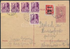 1945 (2. díjszabás) 12f-es díjjegyes helyi levelezőlap Hadvezérek 5x24f + Kisegítő 28f díjkiegészítéssel