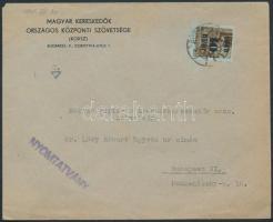 1945 (2. díjszabás) Nyomtatvány Kisegítő 40f/10f bérmentesítéssel