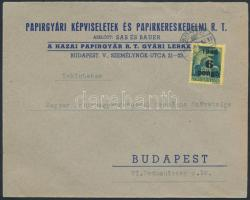 1945 (3. díjszabás) Helyi céges levél Kisegítő 6P/50f bérmentesítéssel