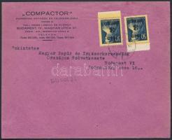 1945 (3. díjszabás) Helyi céges levél Kisegítő 2x3P/50f (ívszéliek) bérmentesítéssel