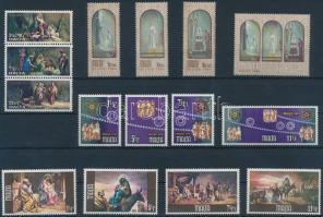 1977-1987 Karácsony 10 klf sor + 1 db hármascsík (2 db stecklapon)
