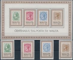 1985 100 éves a máltai posta sor Mi 719-722 + blokk Mi 8