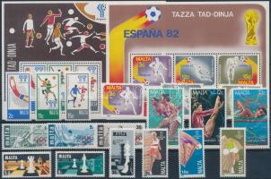 Malta, Sports  (1970-1988) 6 diff sets + 2 diff blocks, Málta, Sport motívum (1970-1988) 6 klf sor + 2 klf blokk