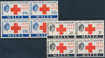 1963 100 éves a vöröskereszt sor négyestömbökben Mi 283-284