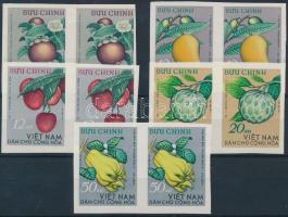 Tropical Fruits perforated ans imperforated set in pairs, Trópusi gyümölcsök vágott sor párokban