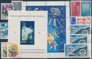 1957-1971 Űrkutatás motívum 10 klf bélyeg, közte teljes sorok + 1 kisív + 1 blokk