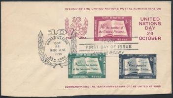 1955 10 éves az ENSZ blokk Mi 1 I FDC-n