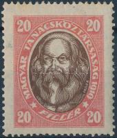 1919 Magyar Tanácsköztársasági arcképek 20f eltolódott középrésszel / Mi 261Y with shifted middle part (rövid fog / short perf.)
