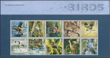 Birds block of 10 in holder, Madarak tizestömb díszcsomagolásban