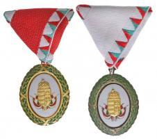 2002. Szolgálati Érdemjel arany fokozata zománcozott, aranyozott tombak kitüntetés mellszalagon, sérült kontraszemmel és hiányzó függesztőkarikával + Szolgálati Érdemjel ezüst fokozata zománcozott, ezüstözött tombak kitüntetés mellszalagon T:2 arany fokozat hátlapján karcok Hungary 2002. Distinction for Service of Merit, 1st Grade enamelled, gold plated tombac decoration with ribbon, with damaged ring and missing suspension ring + Distinction for Service of Merit, 2nd Grade enamelled, silver plated tombac decoration with ribbon and thin ribbon, in case C:XF the back of the 1st Grade scratched NMK 788.,789.