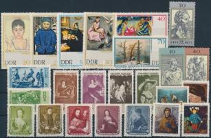 1957-1971 Festmény motívum 24 klf bélyeg, közte teljes sorok