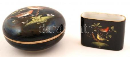 Herendi Rothschild bonbonier, kézzel festett, jelzett, apró kopásnyomokkal, d: 12 cm + Herendi Rothschild fogpiszkálótartó, kézzel festett, jelzett, apró kopásnyomokkal, 8×3×6 cm