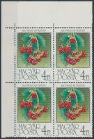 1986 Gyümölcsök négyestömb, a második bélyegen pont az O alatt
