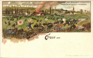 Battle of Wörth, Franco-Prussian war of 1870, Verlag von Frau Levy, litho, 1870 porosz-francia háború, wörthi csata; Verlag von Frau Levy, litho