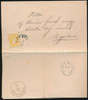 1869 2kr sárga nyomtatványon / 2kr yellow on printed matter ZOMBOR - NEMES MILITICS - RIGYICZA
