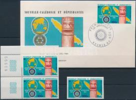 Rotary corner pair + imperf stamp + FDC, Rotary ívsarki pár + vágott érték + FDC