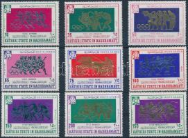 1967 Nyári olimpia sor + blokkból kitépett bélyeg Mi 175-183