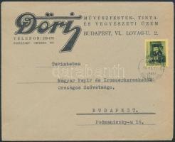1945 (4. díjszabás) Helyi céges levél Kisegítő 40P/8f bérmentesítéssel