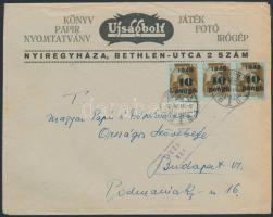 1945 (4. díjszabás) Céges nyomtatvány Kisegítő 3x10P/80f bérmentesítéssel