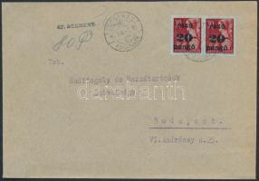 1945 (5. díjszabás) Távolsági levél 80P készpénzes + Kisegítő 2x20P/30f vegyes bérmentesítéssel