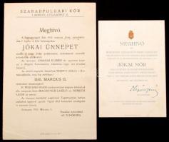 1925 Meghívó Budapest Székesfőváros Jókai ünnepélyére, valamint másik Jókai ünnepre