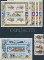 Stamp Exhibition set without closing value + mini sheet set + block, Bélyegkiállítás sor hiányzik a záróérték + kisív sor + blokk