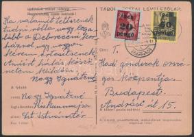 1946 (5. díjszabás) Távolsági levelezőlap Kisegítő 20P/30f + 60P/18f bérmentesítéssel