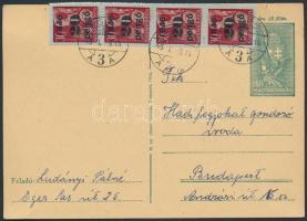 1946 (5. díjszabás) Távolsági levelezőlap Kisegítő 4x20P/30f bérmentesítéssel