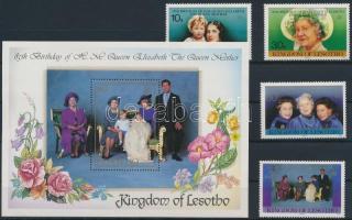 Elizabeth the Queen Mother's birthday set + block, Erzsébet anyakirálynő születésnapja sor + blokk
