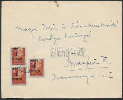 1945 (2. díjszabás) Cenzúrázott távolsági céges levél Kisegítő 3x1P/70f bérmentesítéssel, hátoldalán céges bélyegzés