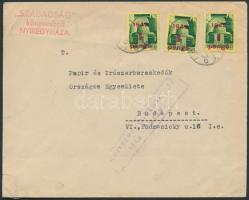 1945 (2. díjszabás) Cenzúrázott távolsági céges levél Kisegítő 3x1P/1P bérmentesítéssel