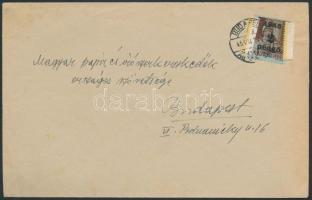 1945 (2. díjszabás) Helyi levél Kisegítő 2P/4f bérmentesítéssel, leáztatott bélyeg újbóli felhasználásával, különleges rögzítéssel