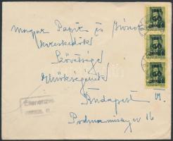 1945 (5. díjszabás) Cenzúrázott távolsági levél Kisegítő 3x40P/8f bérmentesítéssel