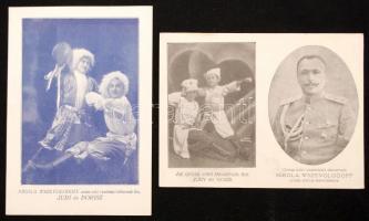 cca 1910 Nikola Wszevolodoff orosz, cári vezérkari tábornok és családja 2 képeslap méretű kártya / Russian general and his family. 2 postcard sized cards