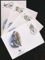WWF: Squirrels set 4 FDC, WWF: Mókusok sor 4 db FDC-n