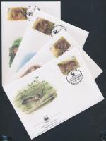 WWF: European beaver set 4 FDC, WWF: Európai hód sor 4 db FDC
