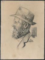 Olvashatatlan jelzéssel: Férfi portré. Ceruza, karton, 21×15 cm