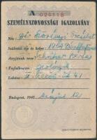 1945 Szörényi Erzsébet (1904-1987) geológus személyi igazolványa